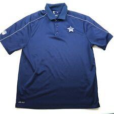 NIKE DriFit Size Large Infield Apparel Dallas Cowboys Golf Polo Shirt Blue
