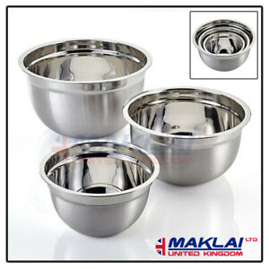 Stainless Steel MIXING BOWL SET Small Large Deep Metal Dish Salad Food Serving