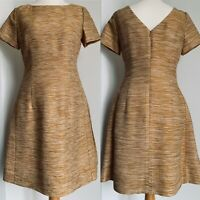 Jaeger Gold Striped Textured A-Line Dress Special Occassion Office Silk Size 10