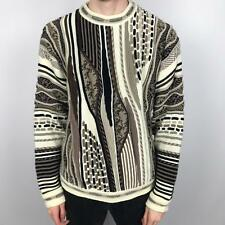 Vintage PROTEGE Cosby Style Knit Jumper   Wavey 3D Abstract   XL Brown