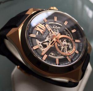 Mens Genuine Bulova Maquina Automatic Skeleton Designer Watch 98A177 Rose Gold