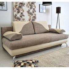Sofa Bed CREMONA with Storage Container Sleep Function Brown Beige New