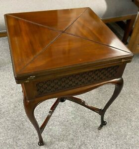 Antique Victorian Mahogany Envelope Card Table SIde Table Lamp Table