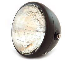 """7"""" Custom Side Mount Motorcycle Headlight - Matte Black - Clear"""