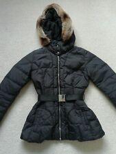 Karen Millen Black Padded Coat With Fur Hood Size 8