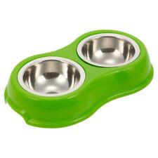 Gamelles et distributeurs verts en acier pour chien