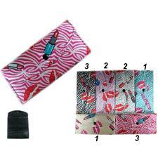 12pcs Lips Lipsticks Printed Wallet Credit Card Case Tote Purse Hand Bag  Lots