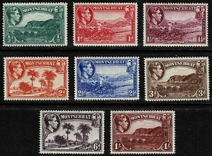 Montserrat 1942 Landscapes King George VI & Coat Of Arms Set Of Eight Stamps-MLH