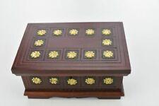 Chest Small Jewellery Cosmetics Treasure Box Lockable Storage Brown Woodeeworld