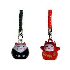 SET OF 2 LUCKY CAT BELL CHARM Red Black Maneki Neko Mobile Cell Phone Strap NEW