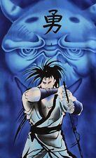 Vtg 90s Asian Blue Anime Dragon & Samurai Warrior HAWAIIAN Style Short Sleeve XL