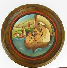 Vintage Anri Wood Carved Numbered Father's Day Plate - 1975 - Sailing Number 270