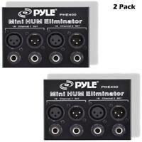 Lot of 2 Pyle PHE400 Hum/Noise Eliminator 2-Channel Box w/ 1/4'' & XLR Jack