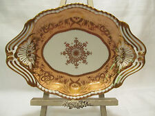 Spode England Antique FELSPAR Porcelain 1815-1830 Peach Gold Oval Platter