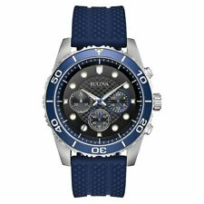 Bulova 98A190 Sport Men's Quartz Chronograph Black Dial Blue Band 43mm Watch