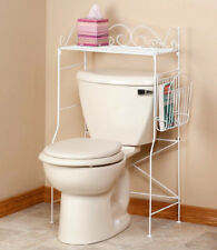 Bathroom Space Saver Over Toilet Tank White Scroll Metal Storage Stand