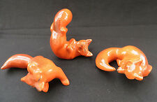 Rare 3 Vintage Brayton Laguna California Pottery Playing Fox Figurines Set