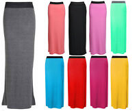 1s Womens Ladies Plain Gypsy Long Jersey Stretchy Maxi Dress Skirt Skirt 8-26