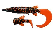 "New Savage Gear 3D Hybrid Pike Tail Bait 10"" BLACK ORANGE HP-250-BOP"