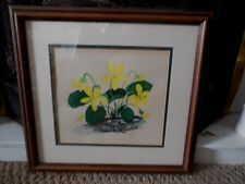 Original Art  Water Color Double Matted & Framed Sharon Christine Buck Violets