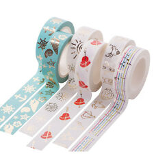 DIY Cartoon Floral Metallic Gold Washi Paper Tape Scrapbook Craft Decor Sticker