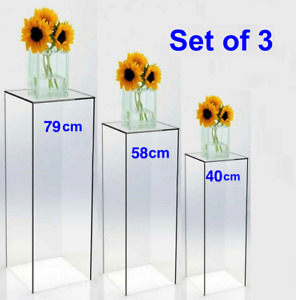 3 Clear Rectangle Acrylic Plinth Cylinder Wedding Shop exhibition Display Stand
