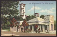 Bermuda. House of Parliament & Post Office Bermuda Vintage Linen Effect Postcard