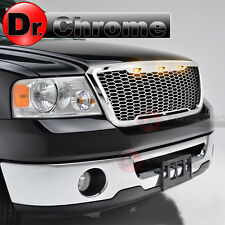 04-08 Ford F150 3x Amber LED Raptor Style Chrome Mesh Packaged Grille Grill