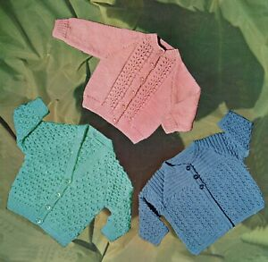 Baby DK Knitting Pattern Matinee Coat  and Cardigan's Sizes 18 -20 inches #189