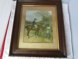 FRAMED WATERCOLOUR OF HORSE DRINKING FROM TROUGH
