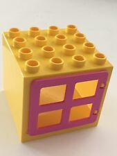 *NEW* Lego DUPLO YELLOW WINDOW FRAME 4X4X3 w DARK PINK WINDOW 4 PANES Door