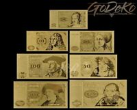 Deutsche Mark Gold Banknote Set Geldschein Schein Note DM D-Mark Goldfolie Alt