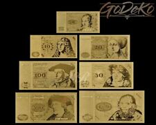 Deutsche Mark Schein Set Gold Banknote ALTE SERIE 24 Karat DM D-Mark Goldfolie