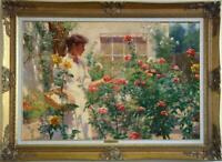 """Old Master-Art Antique Oil Painting Portrait girl Flower on canvas 24""""x36"""""""