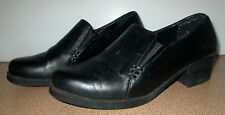 Ladies Size 8 Black Leather Uppers Shoe Work Casual Closed Toe Loafer Shoes
