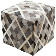 Lycaon Pouf by Surya, White/Butter - LCPF004-181818