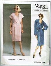 Vogue #1725 American Designer Geoffrey Beene Below knee Dress Pattern Sz 14 UC