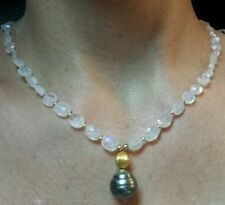 14k 18k stamped gold black Tahitian pearl 50cts blue flash Moonstone necklace