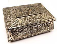 Vtg Art Deco Cigarette Box Case Holder Wood Lined Cast Metal Ornate Egyptian