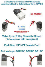 """2 Way Normally Closed 1/4"""" Pneumatic Aluminum Electric Solenoid Air Valve 12V DC"""