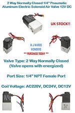 """2 manera normalmente cerrado 1/4"""" Válvula de aire neumático de aluminio Solenoide Eléctrica 12V DC"""