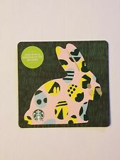 STARBUCKS Gift Card 2019 Die Cut Bunny Rabbit Easter Eggs $0 Value Yellow Pink
