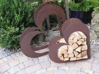 Herz aus Metall - Holz-Regal - Edel-Rost - Garten Terrasse - Liegend - groß!!!