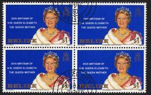Royalty Queen Elizabeth The Queen MOTHER, BLOCK of 4, Belize