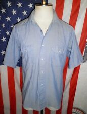 Mens VTG Red Kap Blue Chambray Pearl Snap Western Mechanic Shirt LG lumberjack
