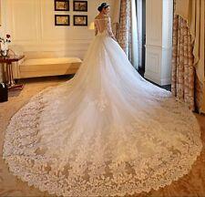 Iuxury White/Ivory Lace Bridal Gown Wedding Dress Custom Size 4 6 8 10 12 14 16+