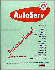 NOS Autoserv Service Manual MG TC TD TF MGA Renault Dauphine 750 1946-1960