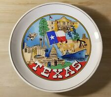 Vintage Texas State Decorative Souvenir Plate Mint Oil Rig Steer Astrodome Space