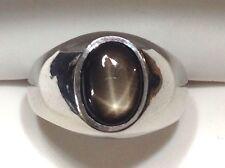 Men's Natural Black Star Sapphire Ring in 14K White Gold - Size 8