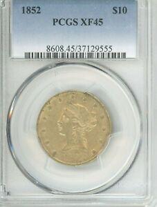 1852  EAGLE, LIBERTY HEAD,  GREAT COIN, graded XF45 BY PCGS  AGW: 0.4837oz
